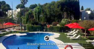 Miraflores Tennis Padel Sports Club - Summer 2018 - Swimming Pool Sunbeds - Miraflores, Mijas Costa, Costa del Sol, Spain OG01
